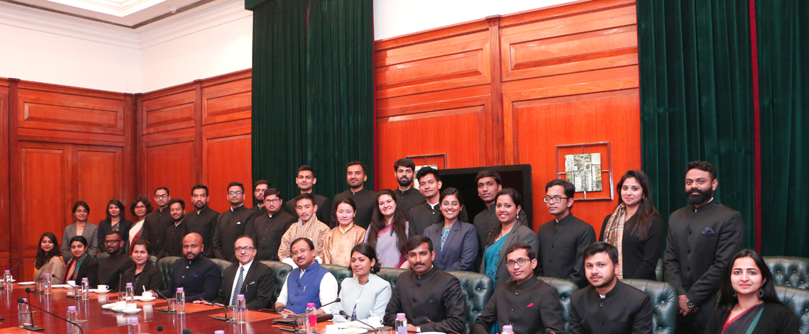 IFS Officer Trainees(OTs) of 2019 Batch and two Bhutanese Diplomats Call on Honble Minister of State for External Affairs