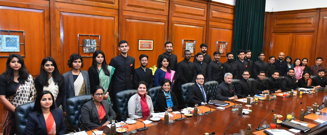IFS Officer Trainees(OTs) of 2019 Batch and two Bhutanese Diplomats Call on Honble  External Affairs Minister