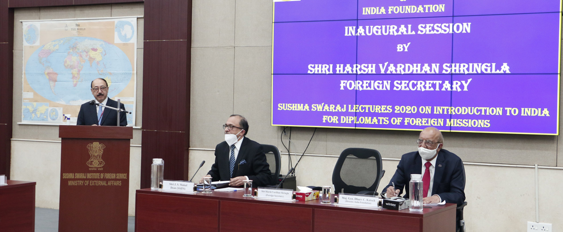 Foreign Secretary delivered the inaugural address at the Sushma Swaraj Lecture Part-I on Introduction to India for Resident Diplomats on 15 October 2020.